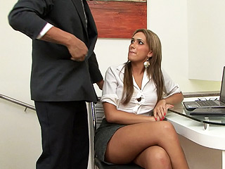 Nathalia ruiz and the boss. Lascivious shemale secretary gets banged at work