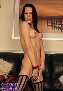 Jordan jay. Lovely ladyboy stripping in libidinous black stockings