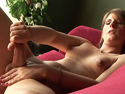 Amy daly  irresistible shemale jerking off on the sofa. Irresistible tranny jerking off on the sofa