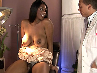Paris pirelli and the doctor. Naughty ebony TS Paris Pirelli seducing a doctor to bang her