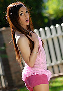 Madison montag Super hot teen TS Madison Montag stripping outdoors.