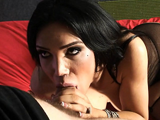 Mariam and wolf. Busty TS Mariam giving a head and getting fuck