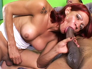 Paola and ed. Hot redhead Paola suc & riding on a large monster cock