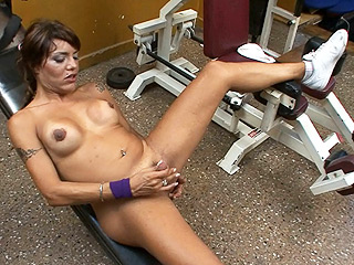Belen. Horny tranny Belen playing with herself in the gym