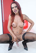 Mylia. Hung Mylia stroking in stockings