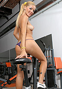 Melina. Hot tranny Melina working out in the gym