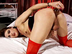 Kimberly kills. TS Kimberly shoves a heavy booty plug up her anus