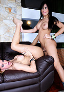 Bruna and adryella. Lovely Adryella screwing shemale Bruna