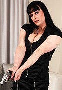 Tiffany taylor. Curvy ladyboy Tiffany playing with her gun