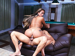 Juliana and yago. Charming tranny Juliana riding a stiff cock