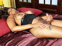 Nia lee. Ebony shemale Nia strokes her huge tool